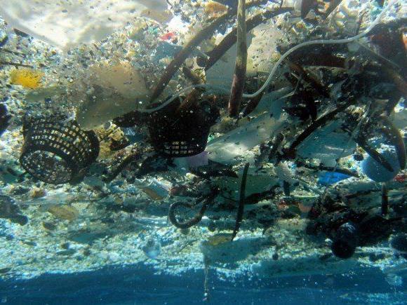 Das Meer ist voll von Plastik-Abfällen.