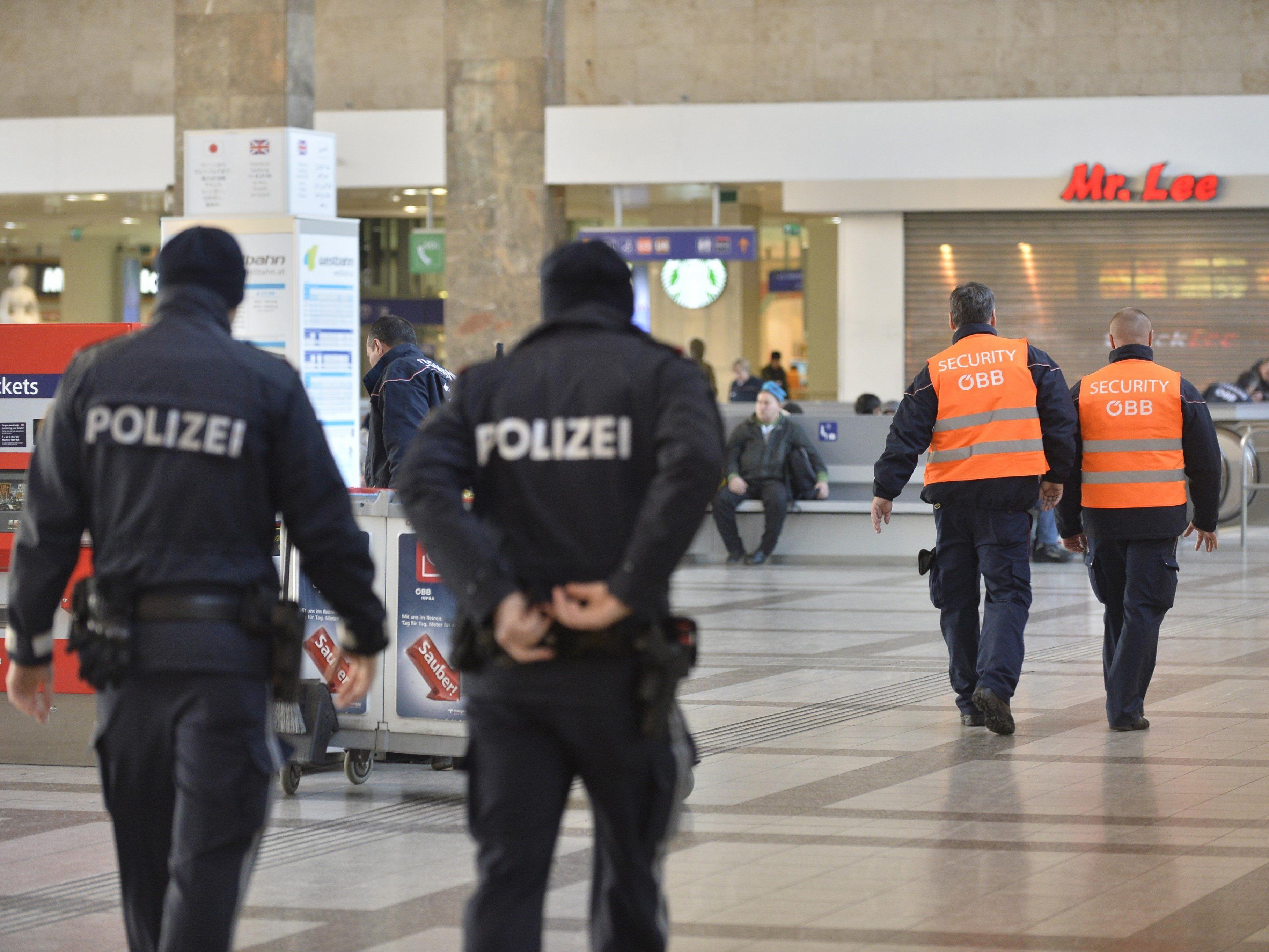"""Die Wiener Polizei und Sicherheitskräfte am """"Hot-Spot"""" Westbahnhof"""