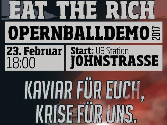 Demo rund um den Wiener Opernball.