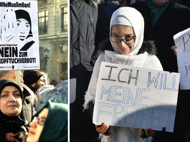 Muslima bei der Demonstration am in Wien.