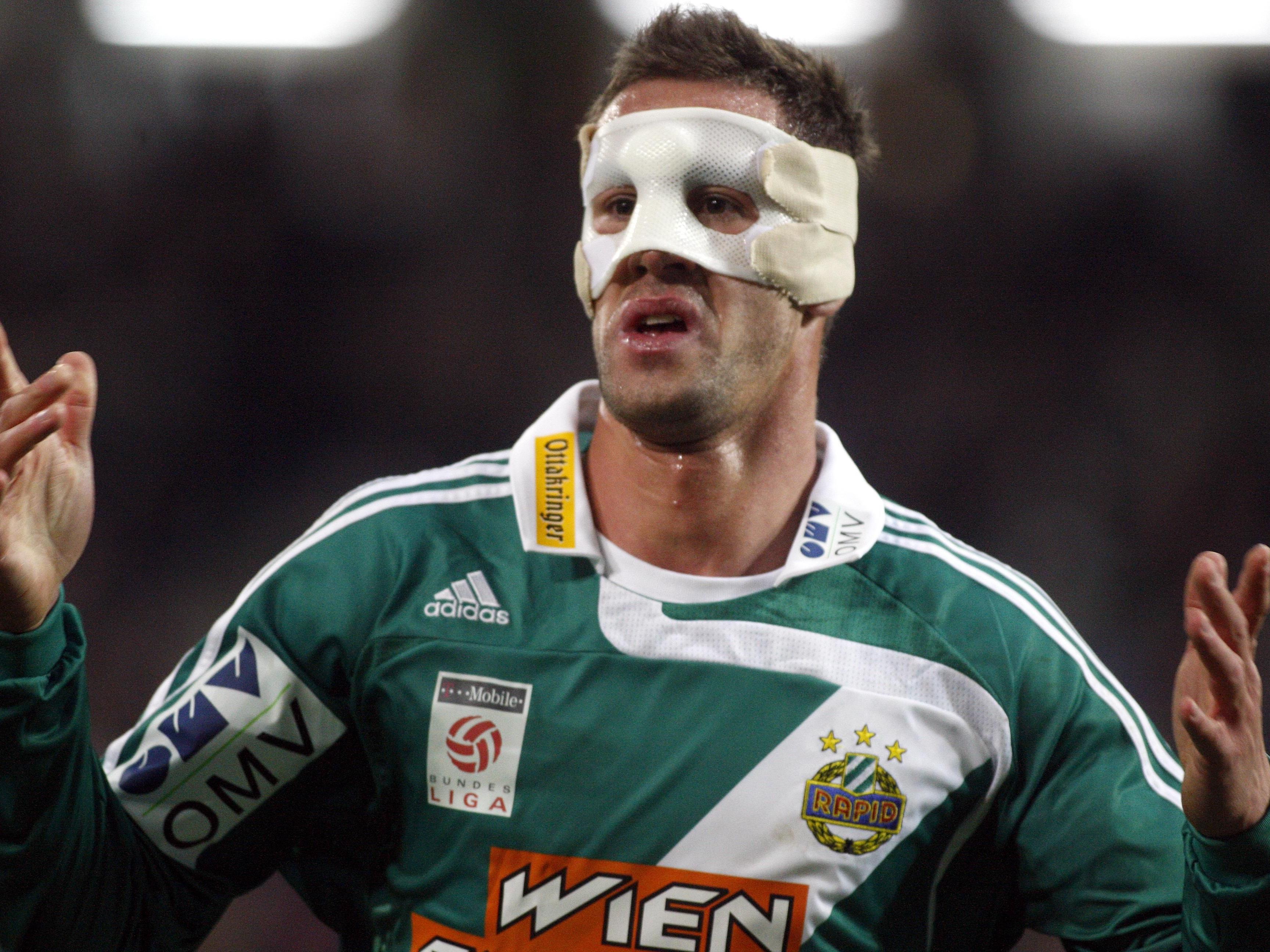 2008 spielte Stefan Maierhofer mit Maske noch für Rapid Wien.