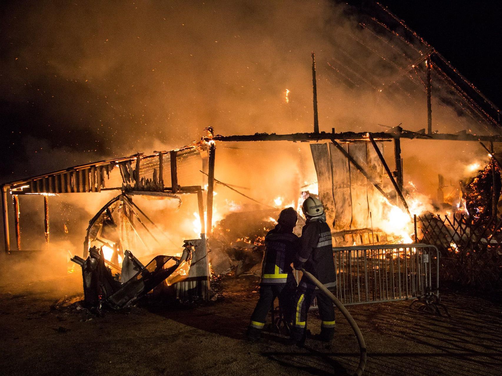 50 Feuerwehrmitglieder waren in der Nacht auf Mittwoch in Wolfsbrunn bei Hollabrunn im Einsatz.