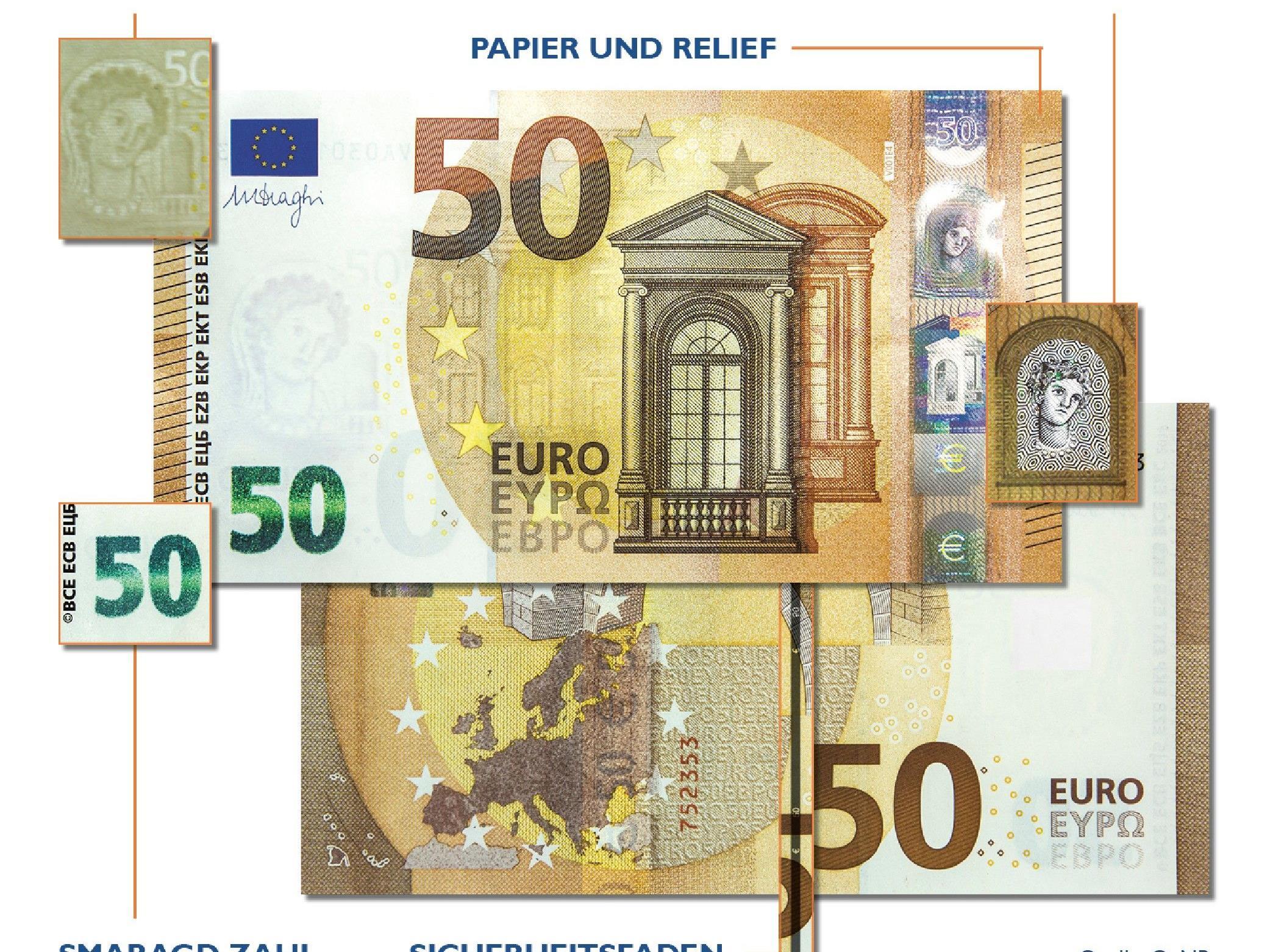 Der Austausch der bestehenden 50-Euro-Banknoten durch die neue Europa-Serie erfolgt sukzessive.