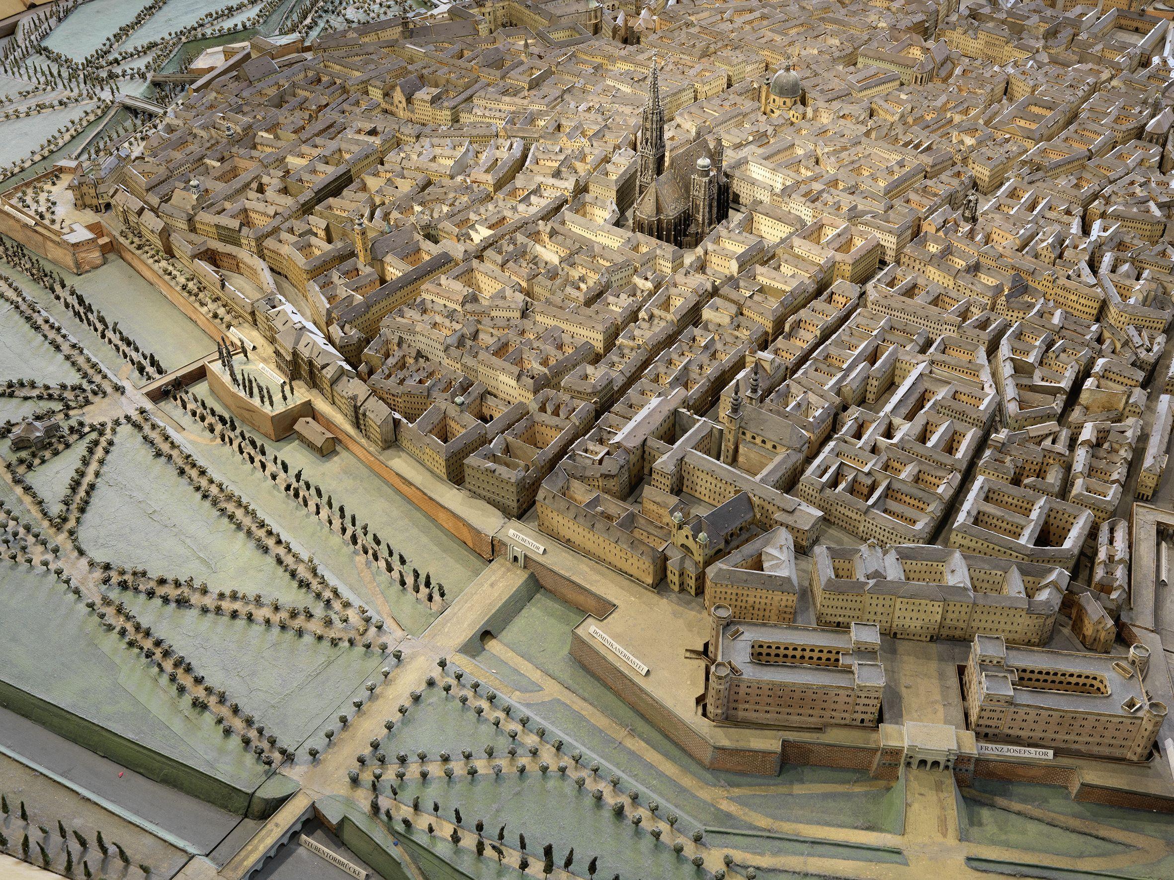 Dieses Exponat von 1852/54 zeigt die Wiener Innenstadt
