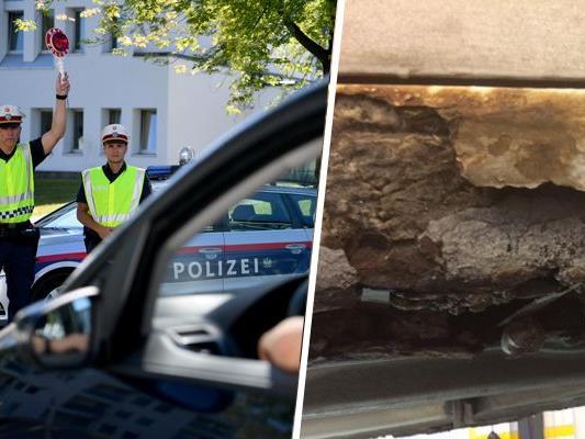 Rostige Stellen wurden mit Beton ausgebessert.