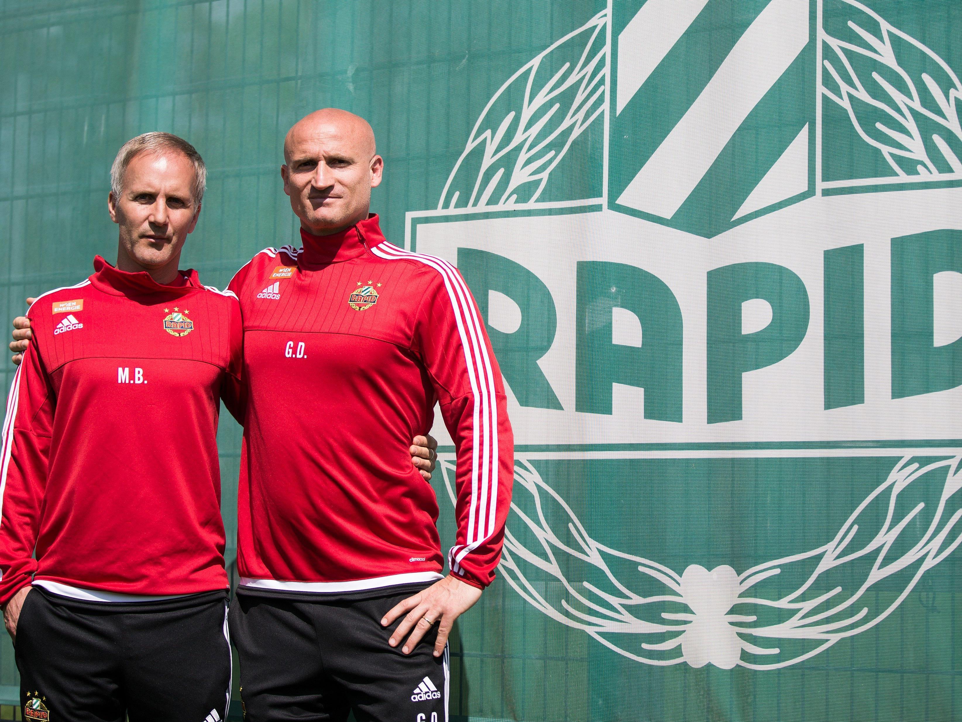 Rapids neues Trainergespann Martin Bernhard und Goran Djuricin.