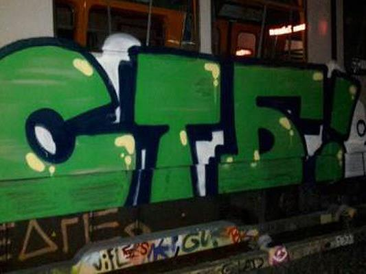 Das Graffiti wurde auf eine U-Bahngarnitur gesprüht.