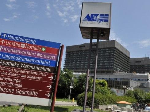 Der Haupteingang des Wiener AKHs wurde abgeriegelt.