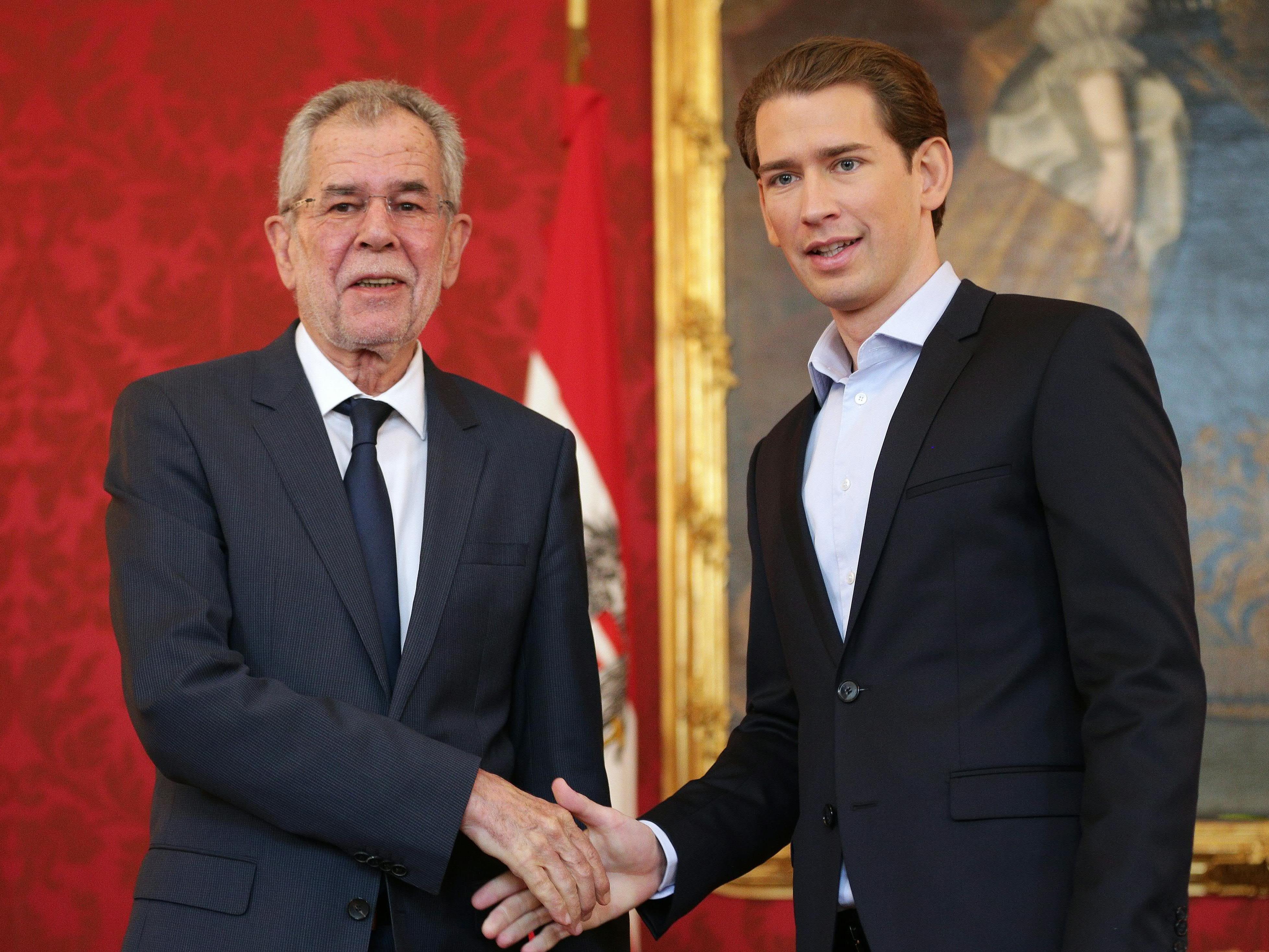 Der künftige ÖVP-Chef Sebastian Kurz beim Treffen mit Bundespräsident Alexander Van der Bellen