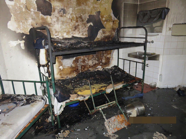 Die Zelle nach dem Brand in der JA Josefstadt