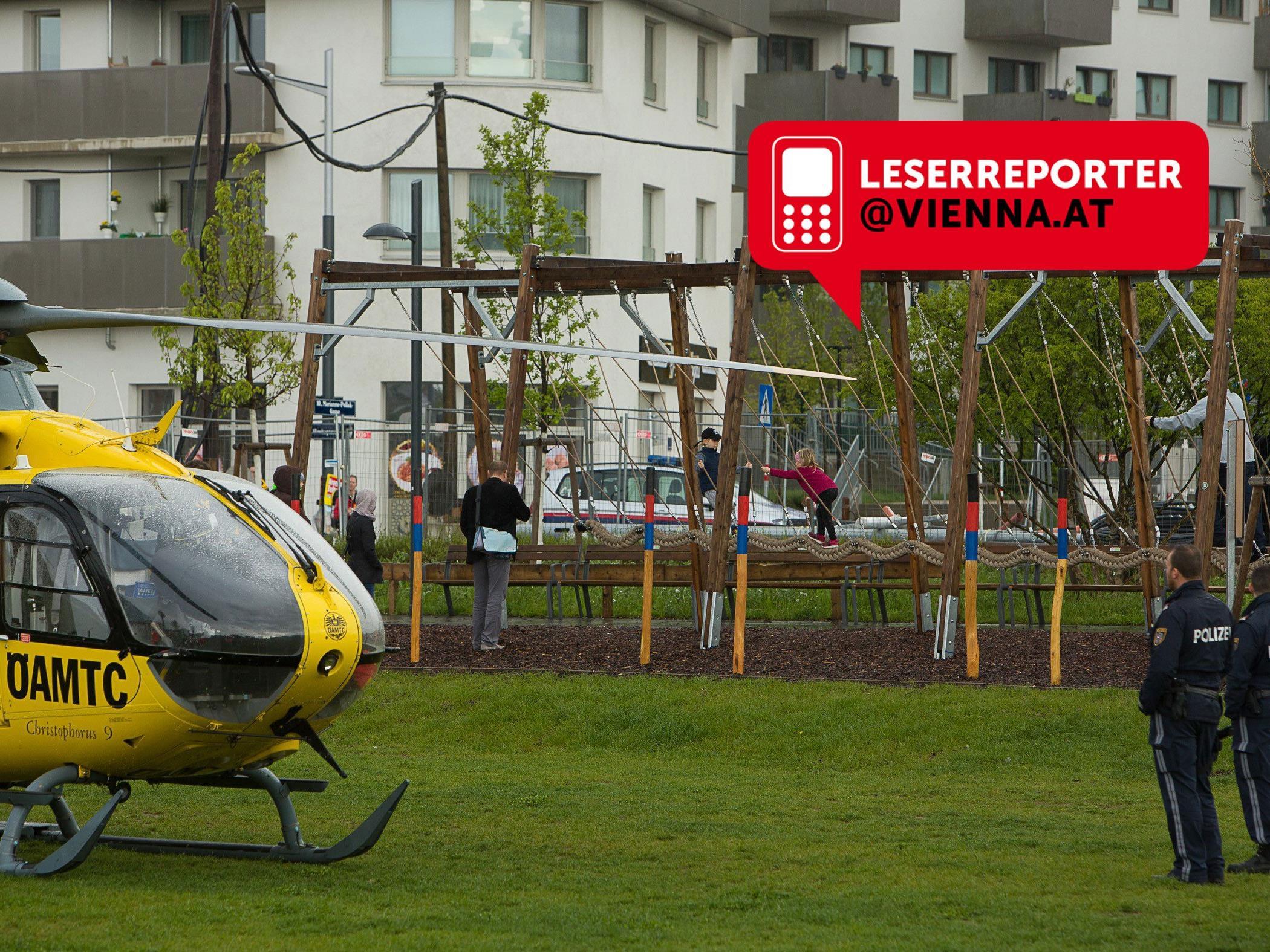 In Wien-Favoriten kam es am Sonntag zu einem Rettungshubschraubereinsatz.