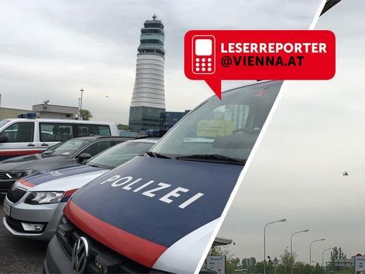 Zahlreiche Polizeiautos waren am Flughafen Wien zu sehen.