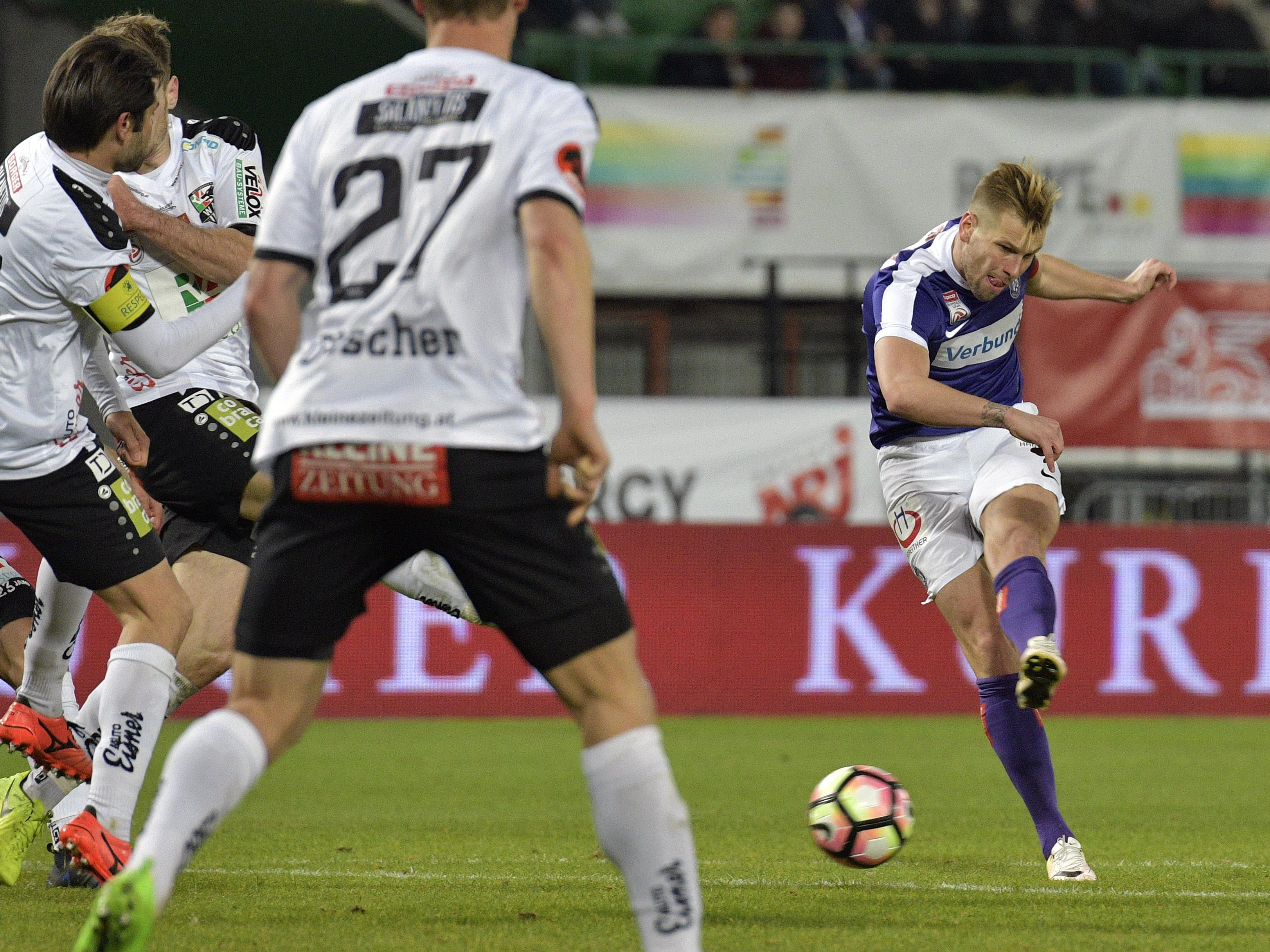 Die Wiener Austria gastiert in der 34. Runde beim Wolfsberger AC in Kärnten.