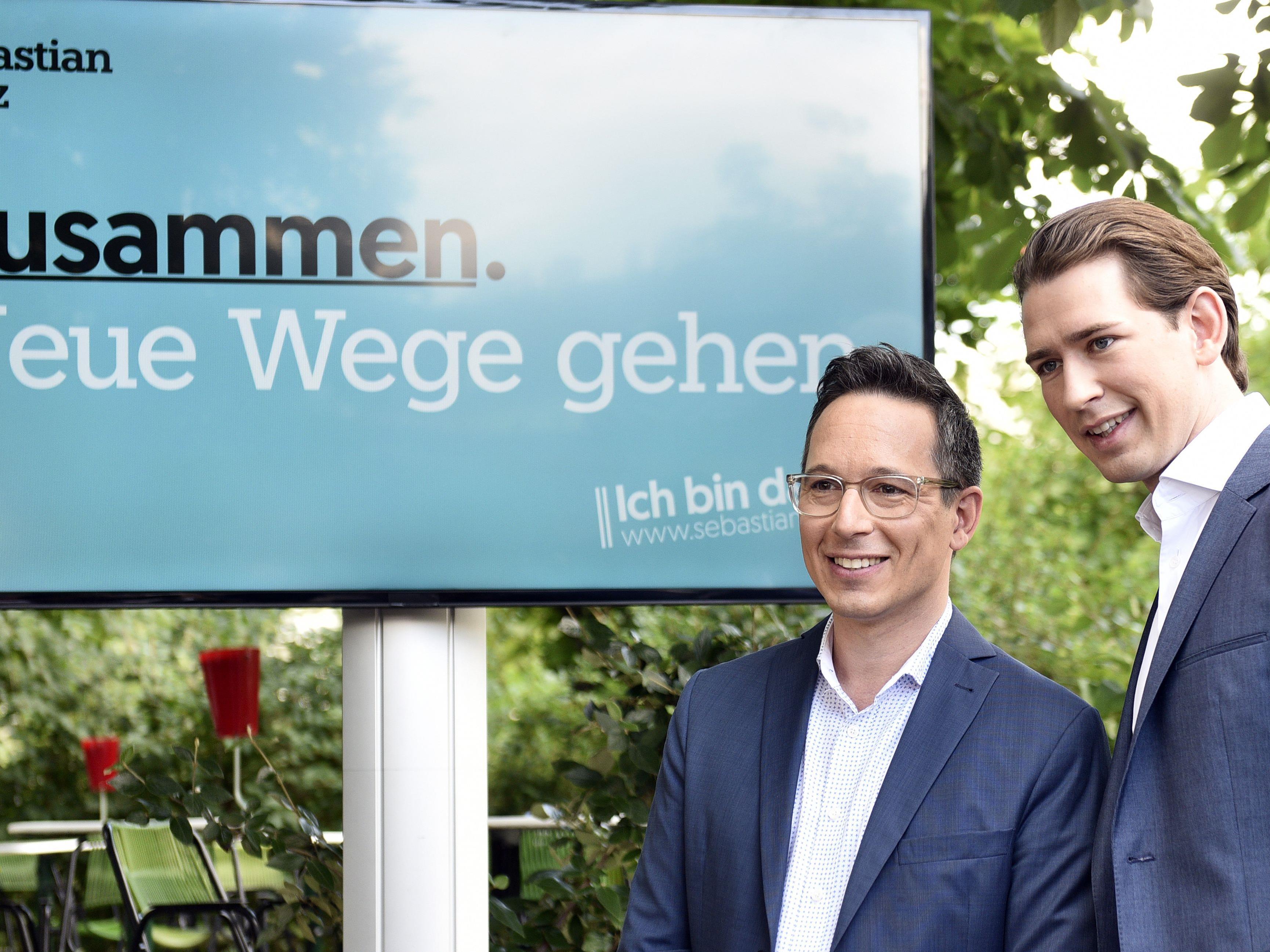 "(v.l.), Peter L. Eppinger, BM Sebastian Kurz (ÖVP) bei der Präsentation des Sprechers der Bewegung ""Liste Sebastian Kurz - Die neue Volkspartei"""