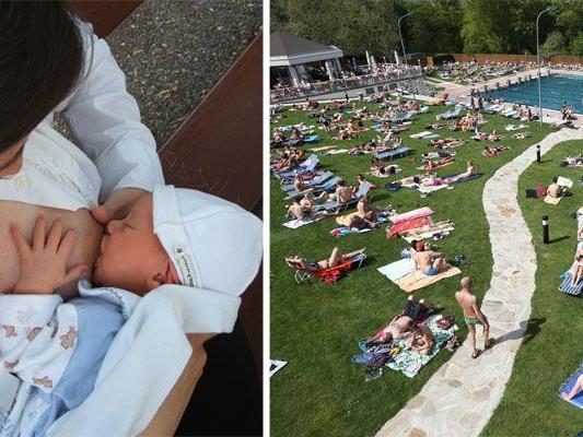 Im Schönbrunner Bad kam es zu einem Vorfall rund um eine Mutter, die ihr Baby stillte