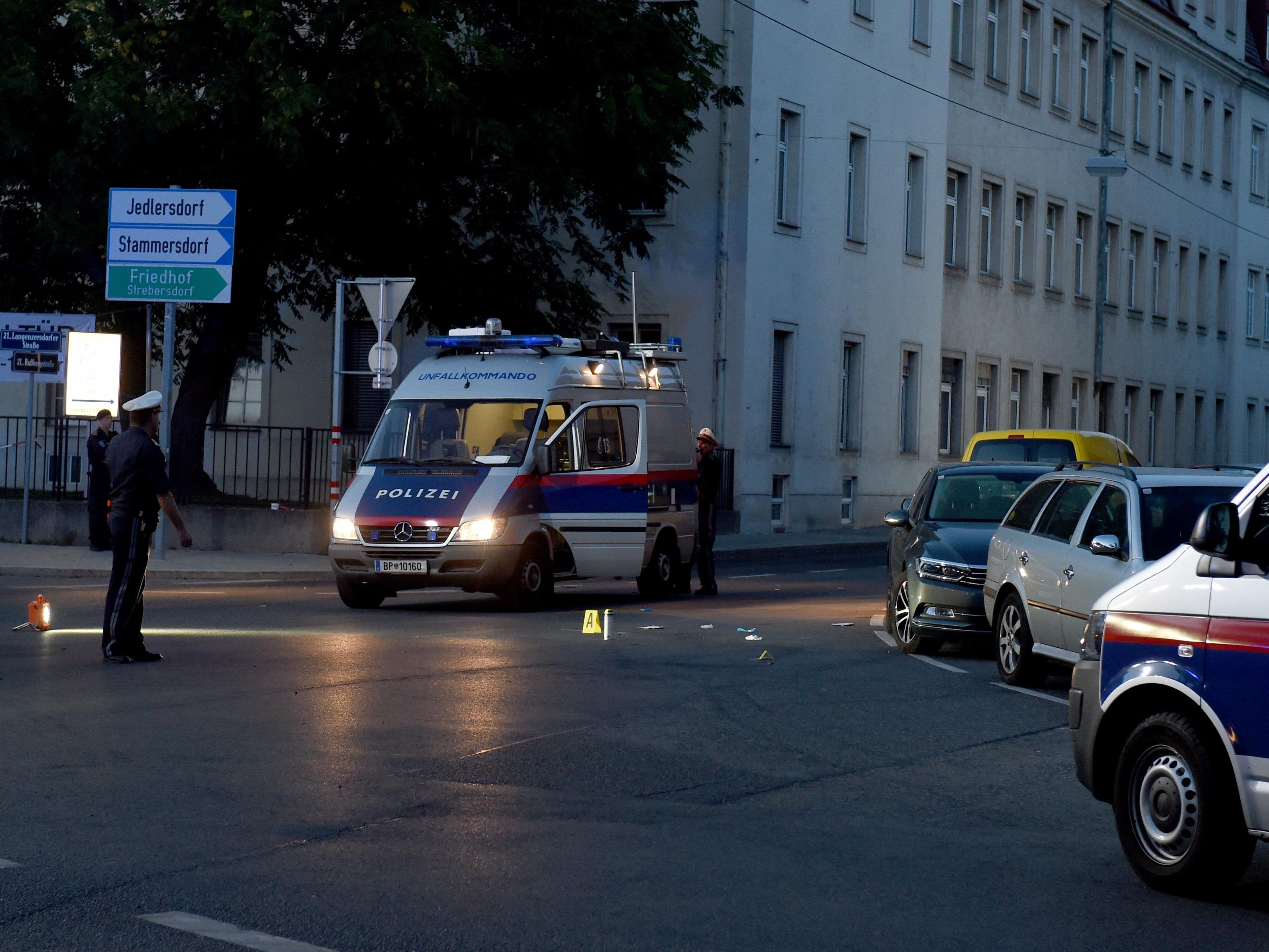 Am Unfallort in Wien-Floridsdorf