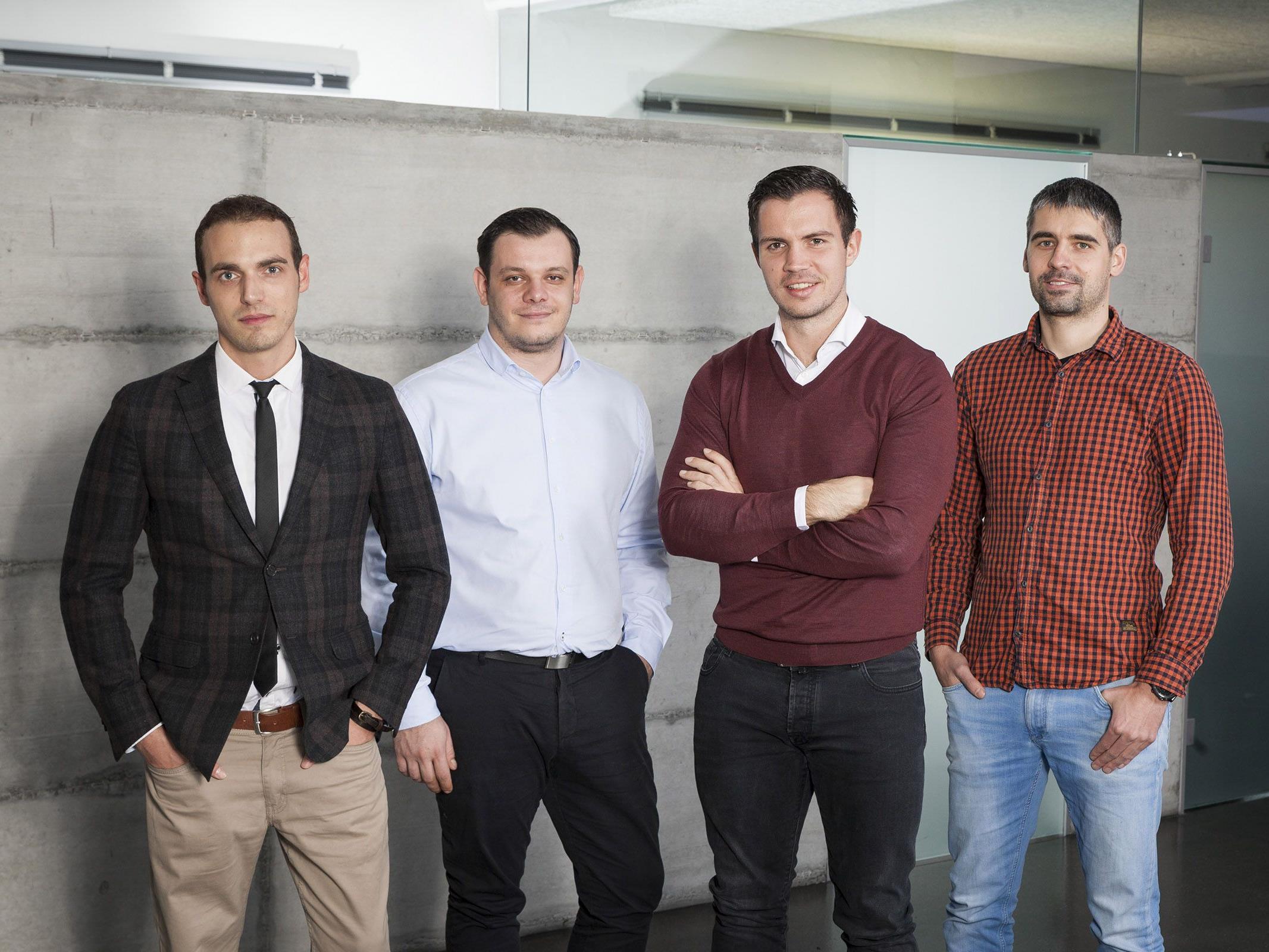 : Das Führungs-Team von TOWA: Matteo Ender (Creative Director), Marko Tovilo (Geschäftsführer), Florian Wassel (Geschäftsführer) und Benjamin Meier (Leiter Entwicklung - v.l.).
