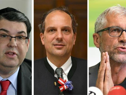 Die Worte von Johannes Hübner (FPÖ, M.) sorgten für Kritik von Oskar Deutsch (IKG, l.) und Harald Walser (Grüne, r.)