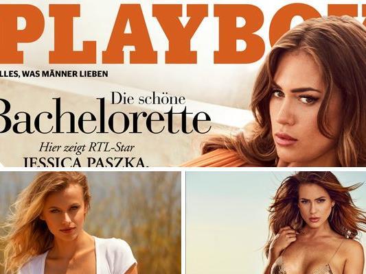 """""""Bachelorette"""" Jessica Paszka und Playmate Olga de Mar in der August-Ausgabe des Playboy."""