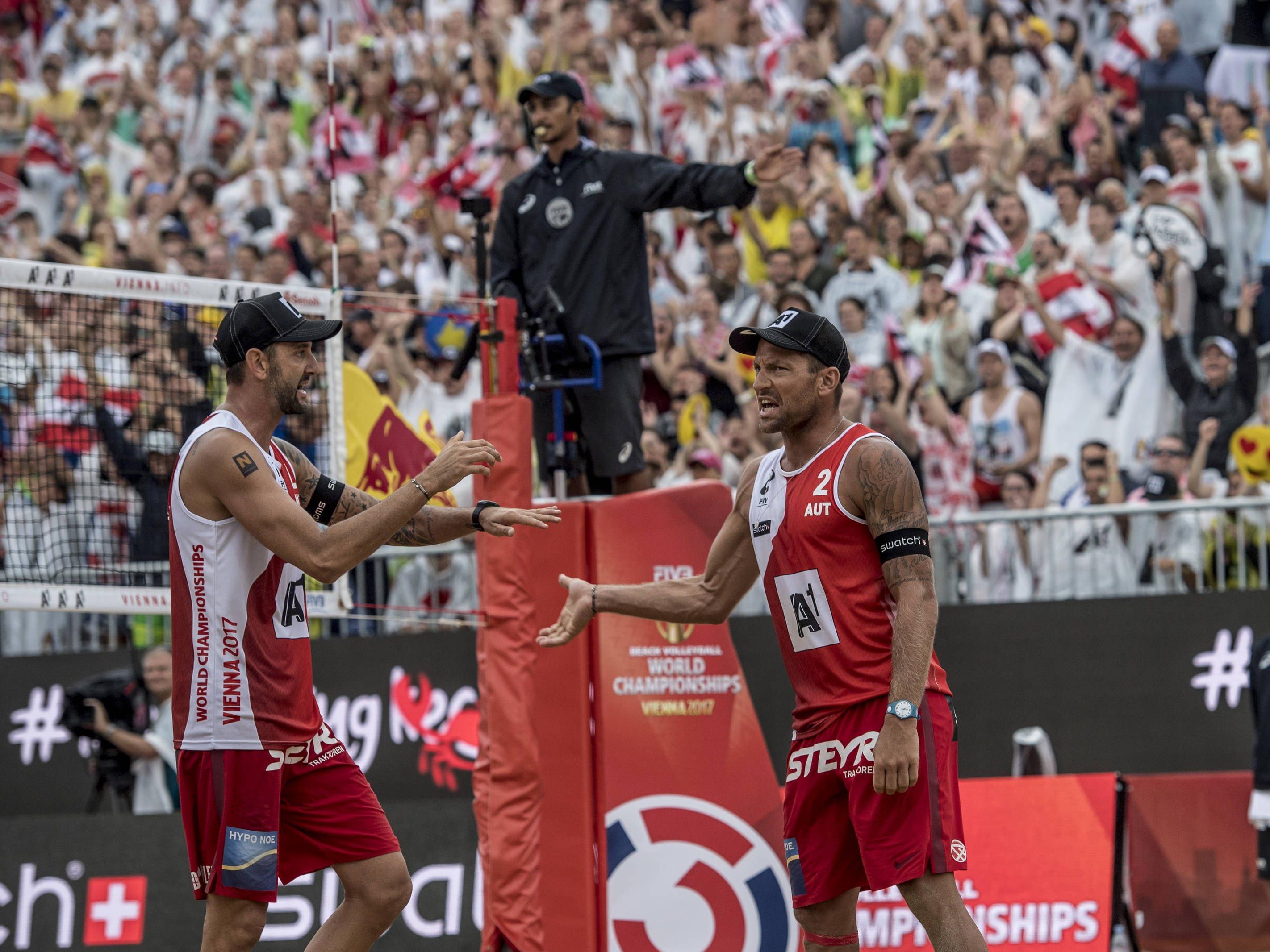 Clemens Doppler und Alex Horst holten Österreichs erste Medaille bei einer Beach-Volleyball-Weltmeisterschaft.