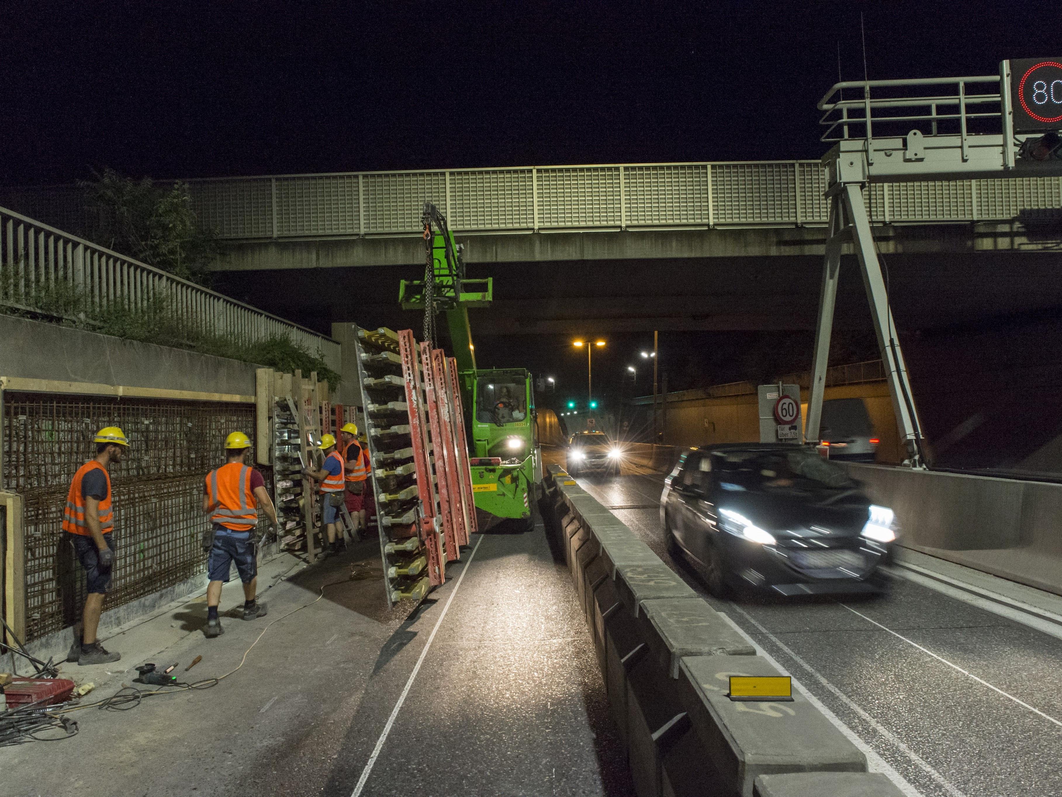 Halbzeit bei der Baustelle auf der A23 zwischen Stadlau und Hirschstetten.